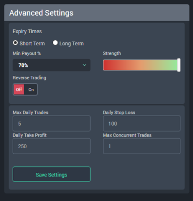 FXMasterBot Advanced Settings